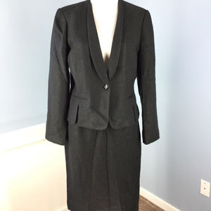 CALVIN KLEIN 10 Black Woven Skirt Suit